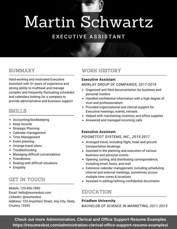 Executive Assistant Resume Samples And Tips Pdf Doc Resumes Bot