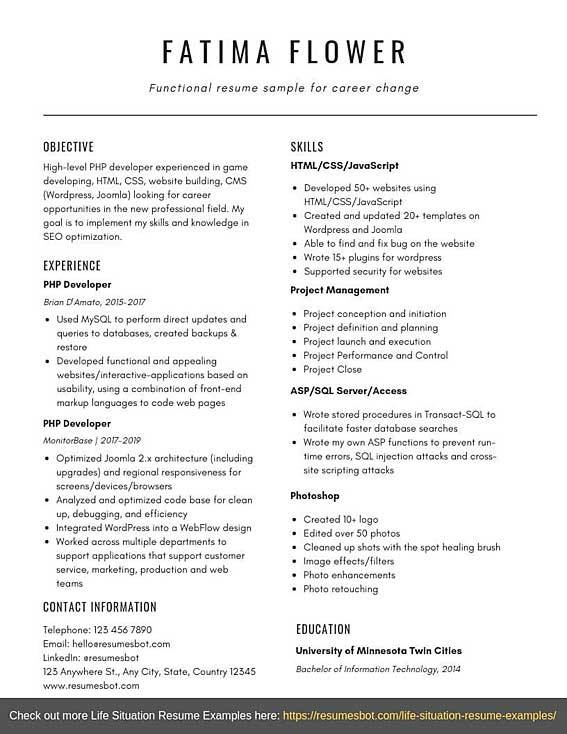 Example Functional Resumes - Resume.pngdownload.co