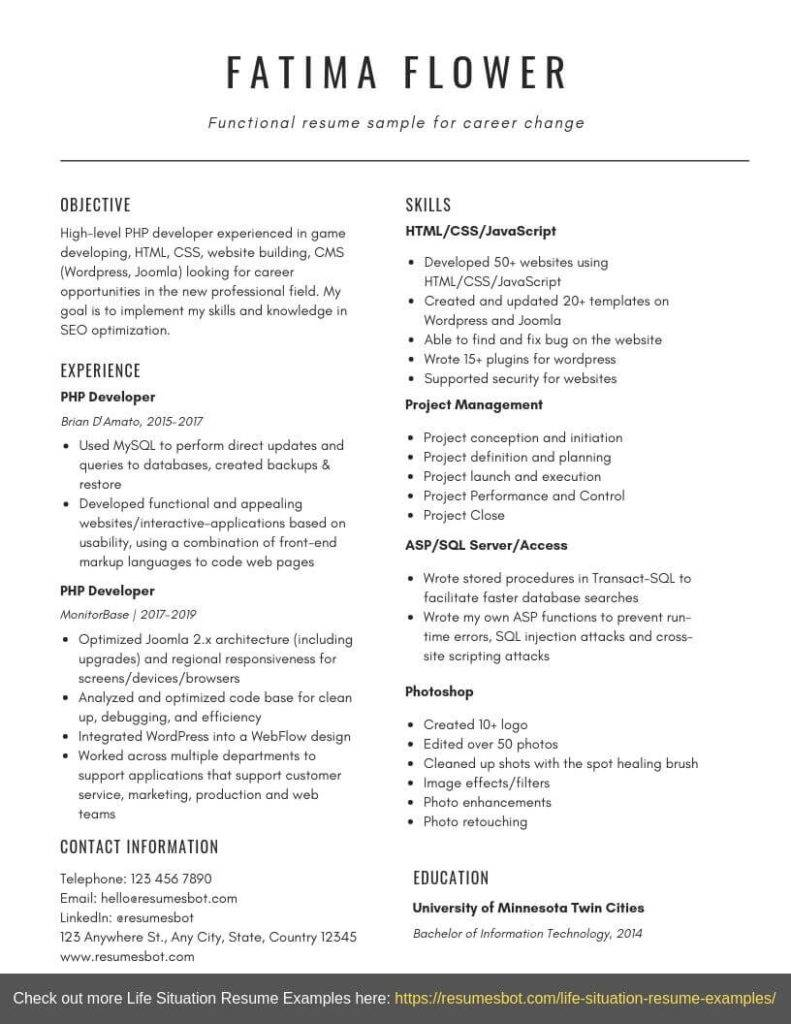 functional resume template 3