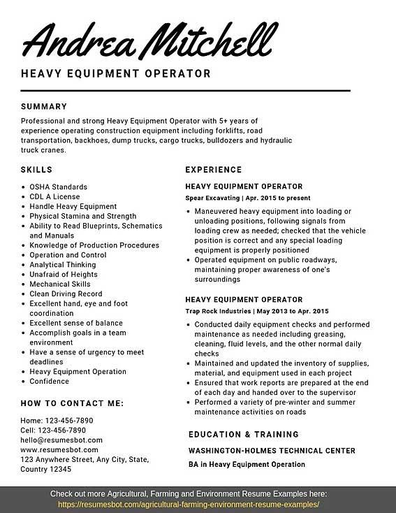Heavy Equipment Operator Resume Samples Templates Pdf Word
