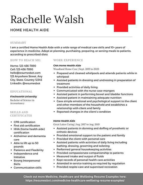 Home Health Aide Resume Samples Templates Pdf Doc 2020 Home Health Aide Resumes Bot