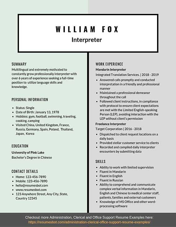 Interpreter Resume Samples Templates Pdf Doc 2020 Interpreter Resumes Bot