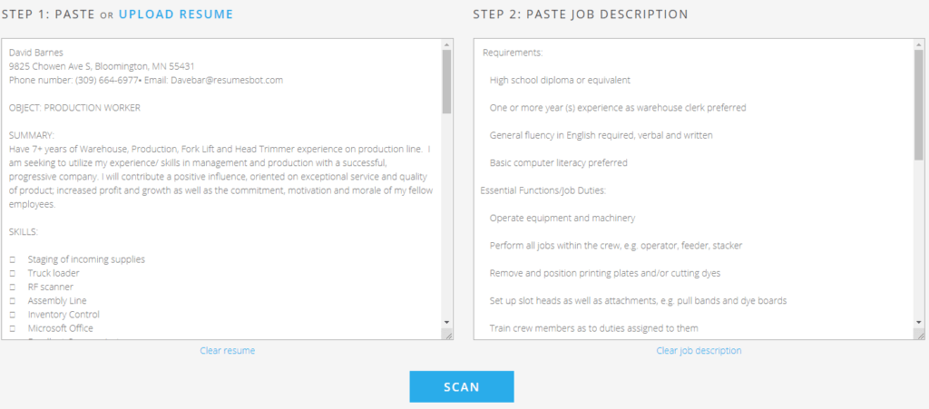 Jobscan Resume Checker Use Free Ats Resume Scanner