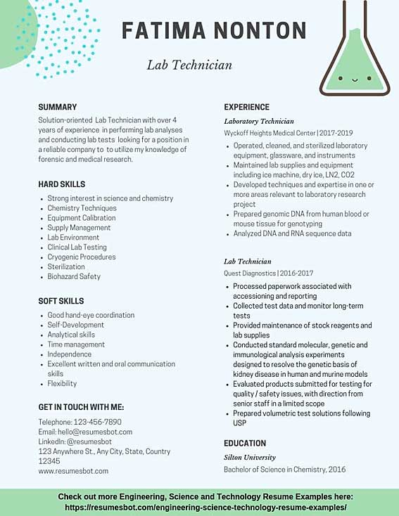 Lab Technician Resume Samples Templates Pdf Doc 2020 Lab Technician Resumes Bot