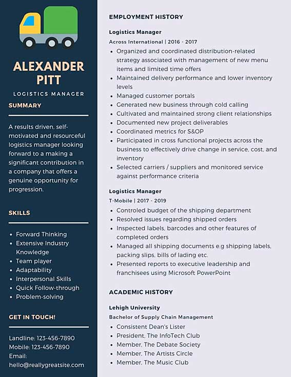 logistics manager resume samples  u0026 templates  pdf word