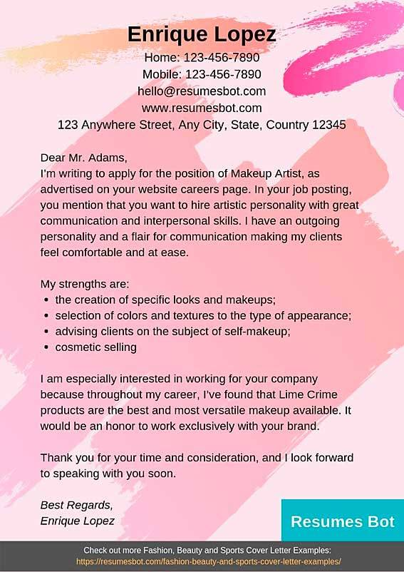 Makeup Artist Cover Letter Example