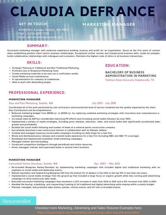 Marketing Manager Resume Samples And Tips Pdf Doc Resumes Bot