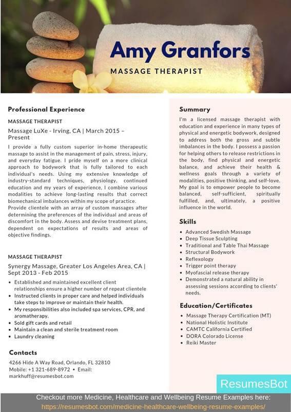 massage therapist resume samples  u0026 templates  pdf doc