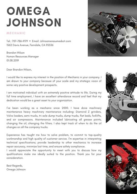 Mechanic Cover Letter Example