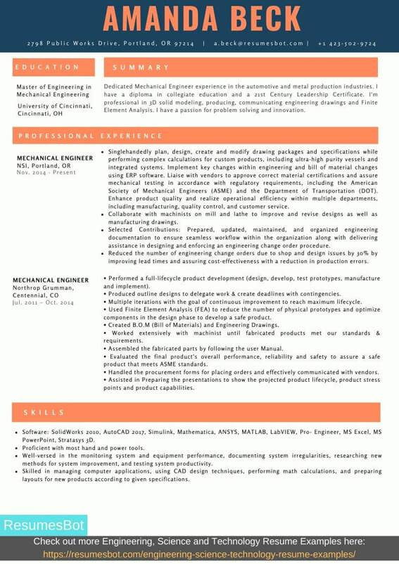 mechanical engineer resume samples and tips  pdf doc