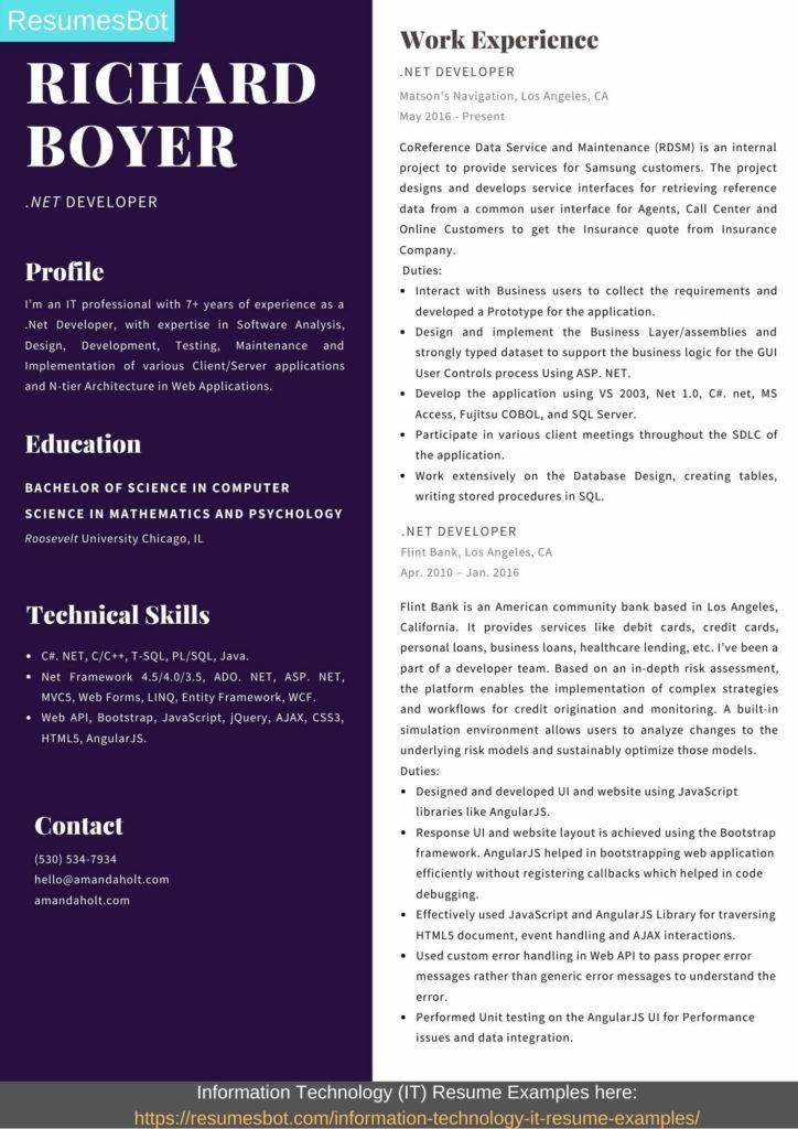 net developer resume samples  u0026 templates  pdf word  2019