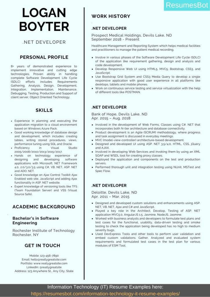 .net developer resume sample