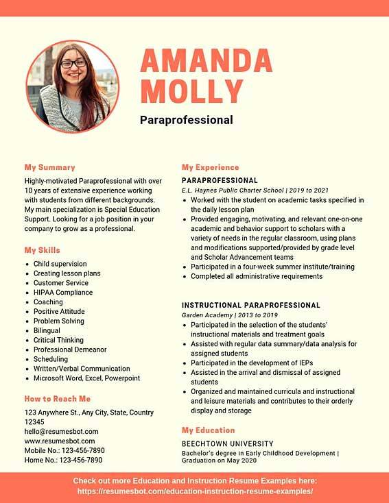 Paraprofessional Resume Samples Templates Pdf Doc 2020 Paraprofessional Resumes Bot