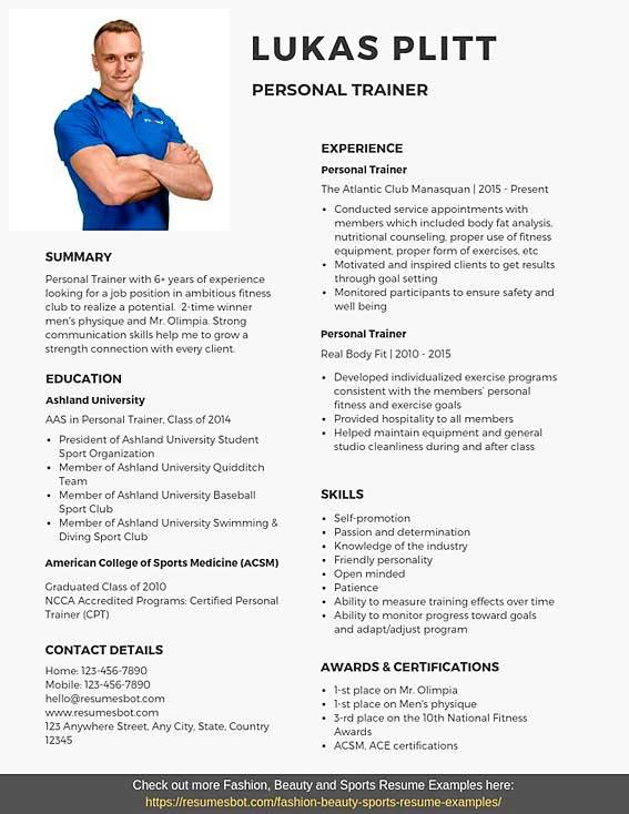 Personal Trainer Resume Samples Templates Pdf Word 2020 Personal Trainer Resumes Bot