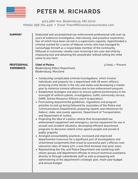 Examples for police resume 3 column resume