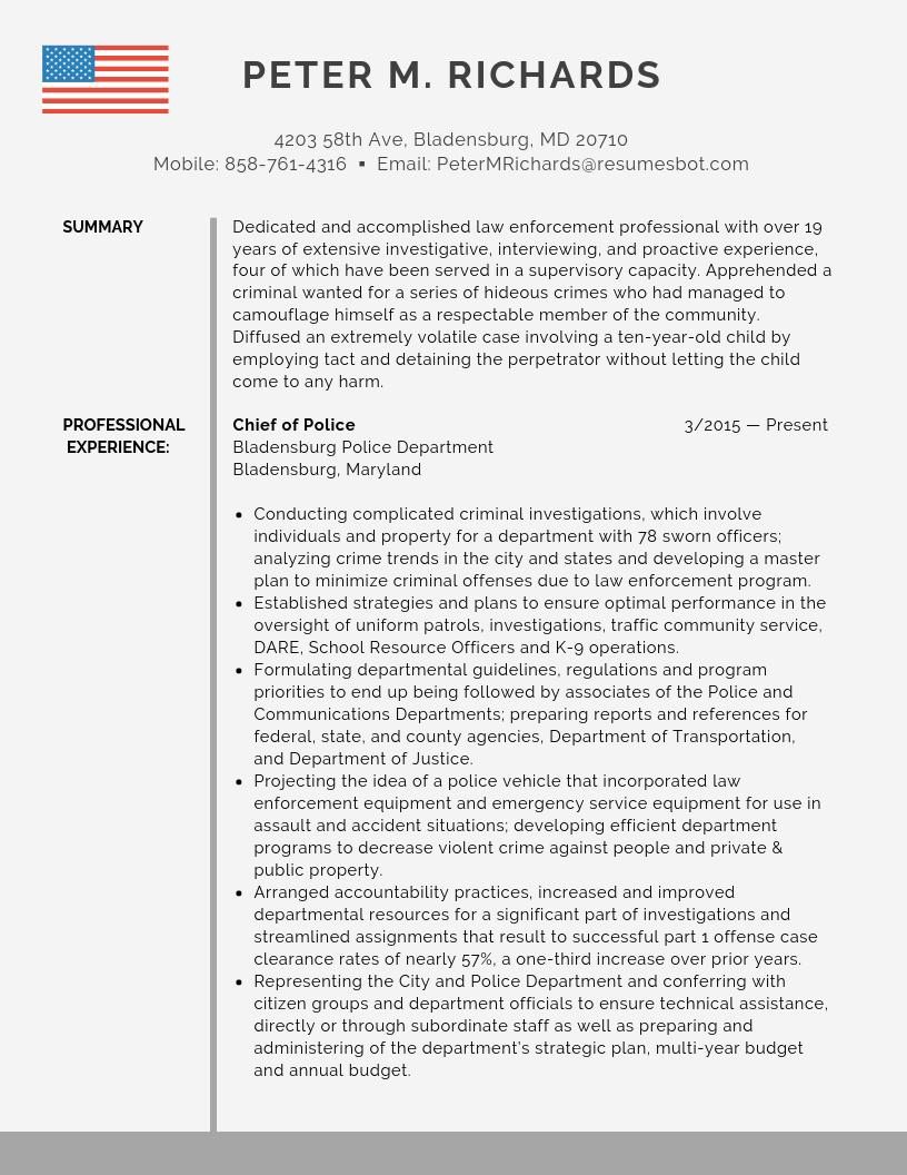 Police Chief Resume Samples Templates PDF Word