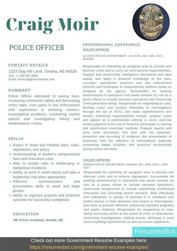 Police Officer Resume Samples Templates Pdf Doc 2020 Police
