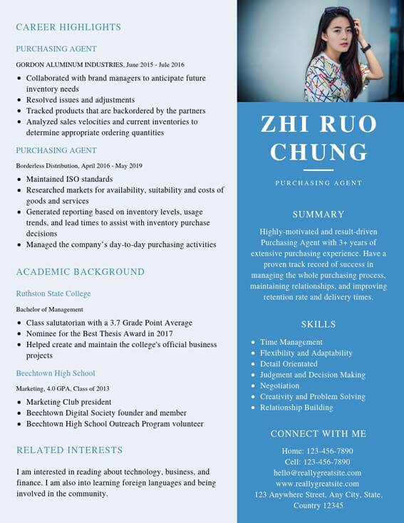resume for purchasing agent position