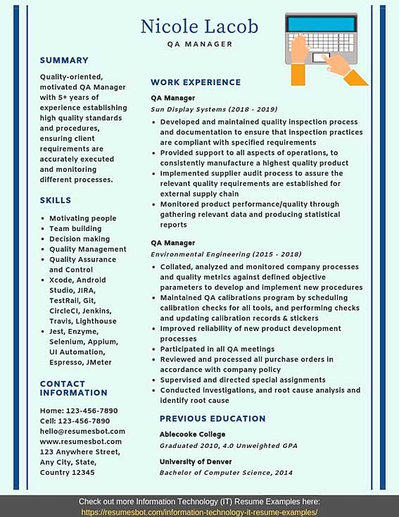 Qa Manager Resume Samples Templates Pdf Word 2020 Qa Manager Resumes Bot