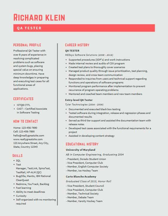 Qa Tester Resume Samples Templates Pdf Word 2020 Qa Tester