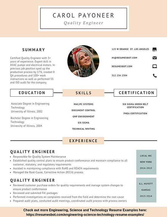 quality engineer resume samples  u0026 templates  pdf doc  2020