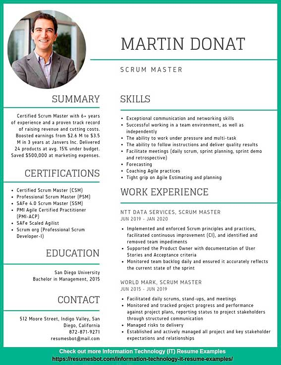 scrum master resume samples  u0026 templates  pdf doc  2019