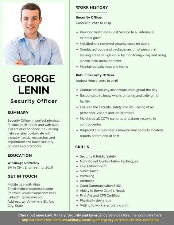 security officer resume samples  u0026 templates  pdf doc  2019