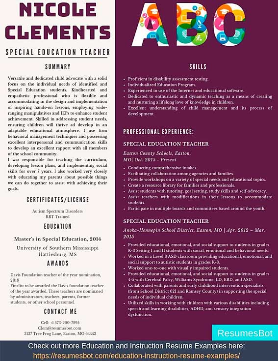 Special Education Teacher Resume Samples Templates Pdf Doc