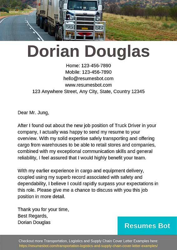 Truck Driver Cover Letter Samples Amp Templates Pdf Word