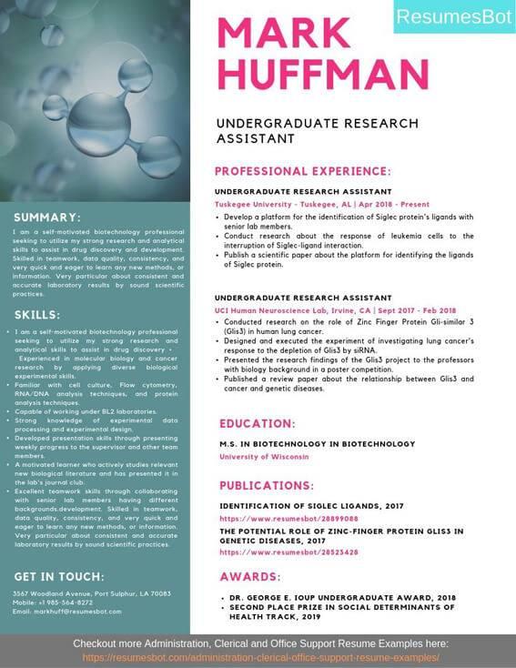 undergraduate research assistant resume samples  u0026 templates  pdf doc  2019