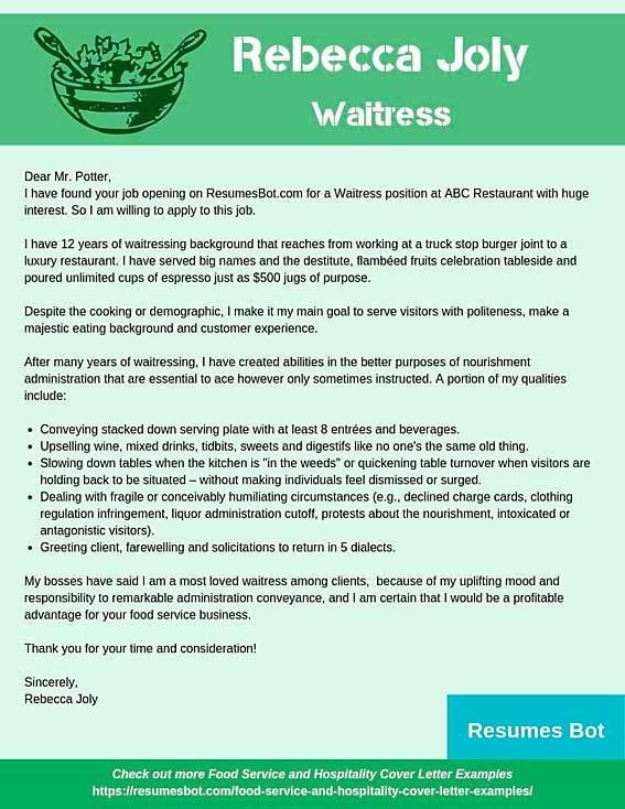 Cover Letter For Restaurant Job from resumesbot.com