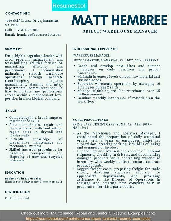 Warehouse Manager Resume Samples Templates Pdf Doc 2020