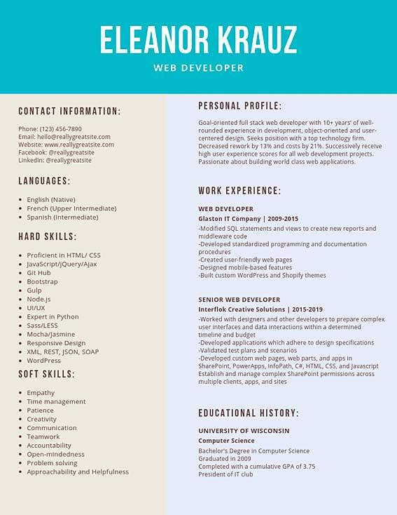 Web Developer Resume Samples And Tips Pdf Doc Templates 2020 Web Developer Resumes Bot
